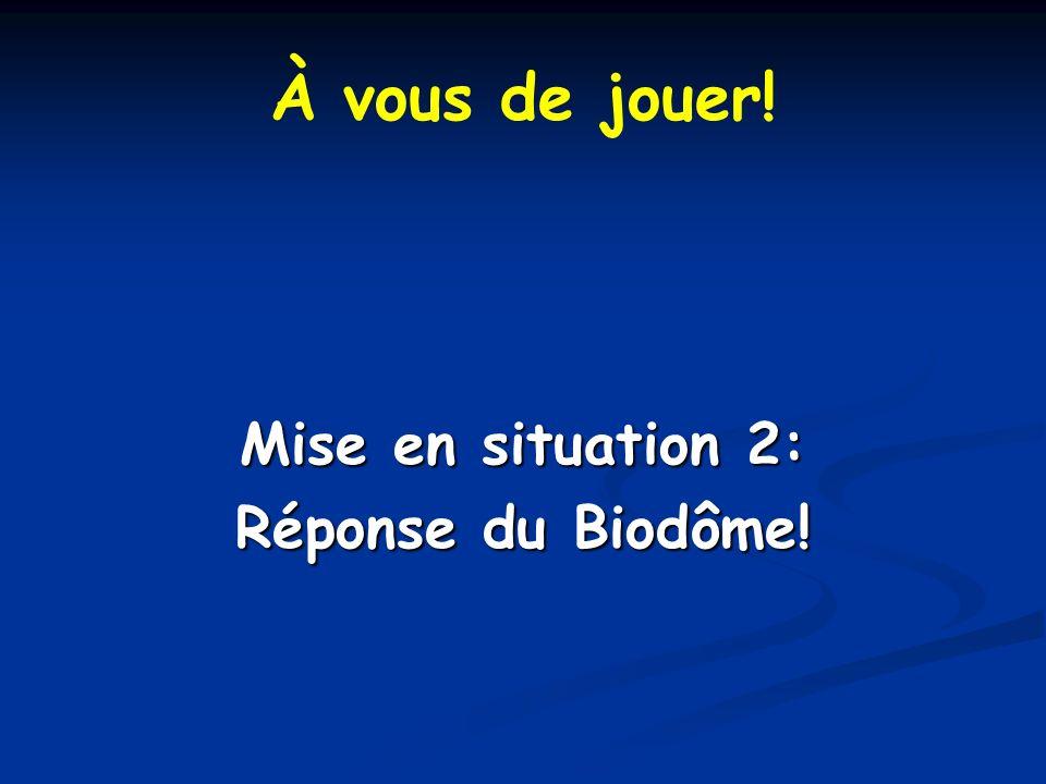 À vous de jouer! Mise en situation 2: Réponse du Biodôme!