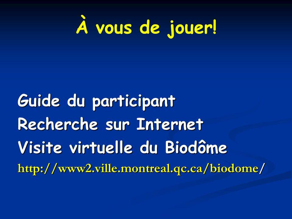 À vous de jouer! Guide du participant Recherche sur Internet Visite virtuelle du Biodôme http://www2.ville.montreal.qc.ca/biodome/