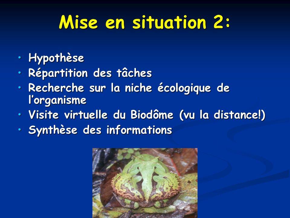 Mise en situation 2: HypothèseHypothèse Répartition des tâchesRépartition des tâches Recherche sur la niche écologique de lorganismeRecherche sur la n