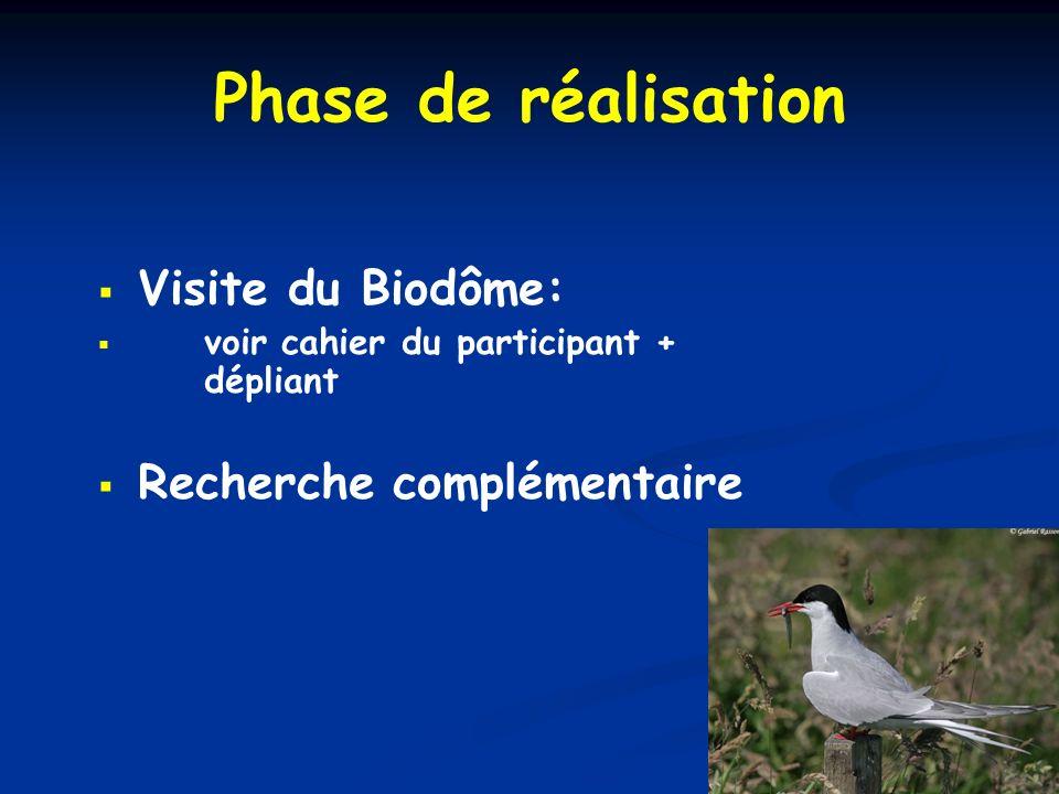 Phase de réalisation Visite du Biodôme: voir cahier du participant + dépliant Recherche complémentaire