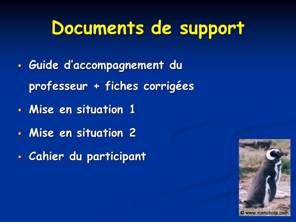 Documents de support Guide daccompagnement du professeur + fiches corrigées Guide daccompagnement du professeur + fiches corrigées Mise en situation 1