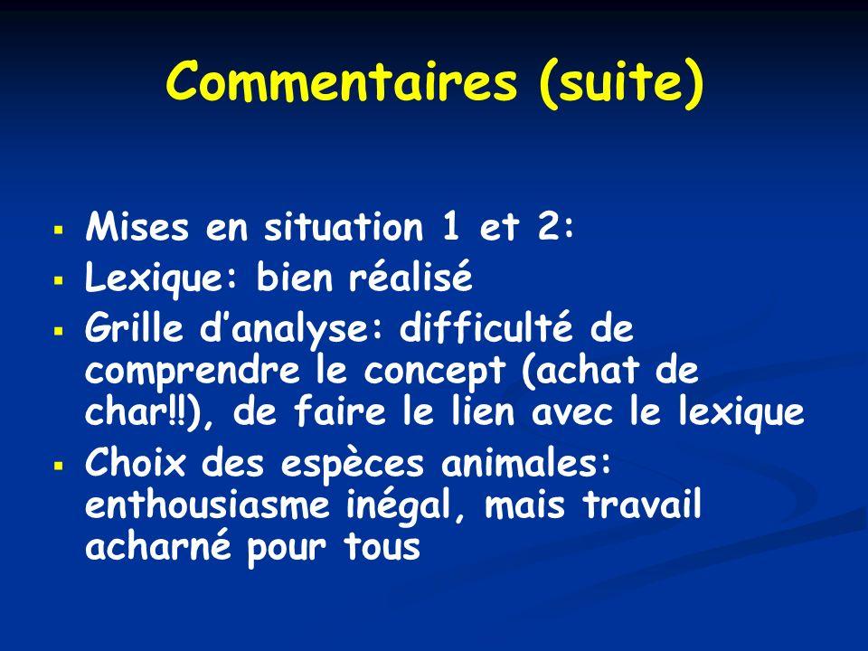 Commentaires (suite) Mises en situation 1 et 2: Lexique: bien réalisé Grille danalyse: difficulté de comprendre le concept (achat de char!!), de faire