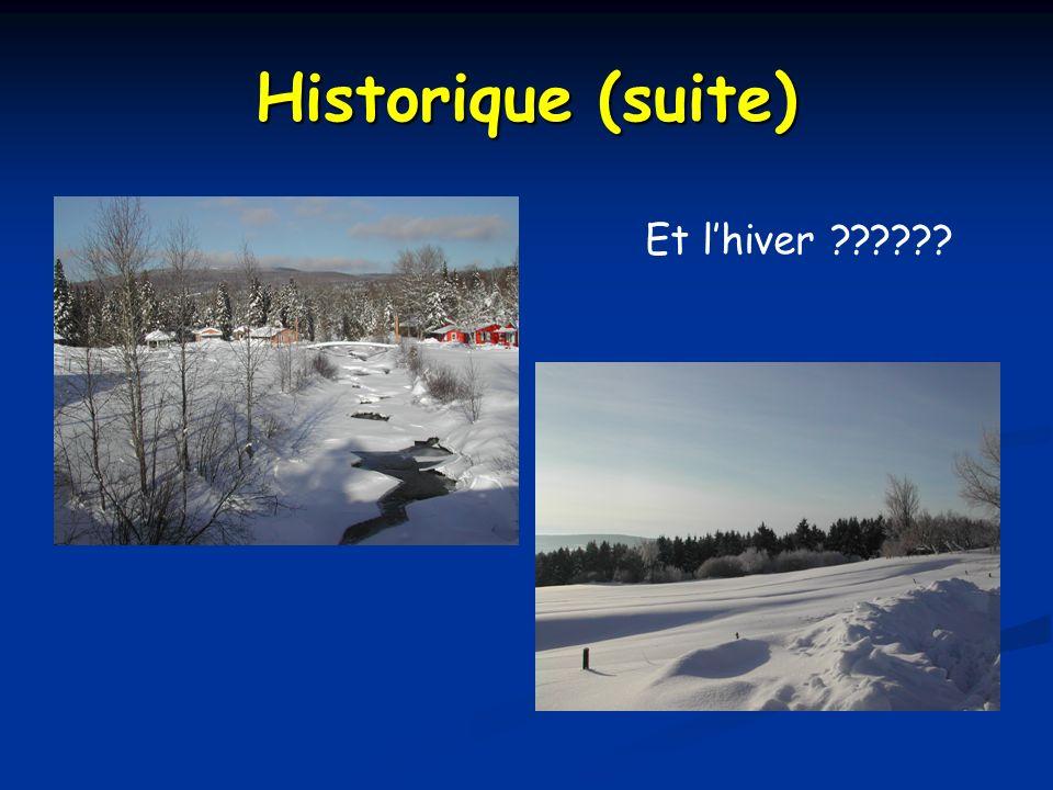 Historique (suite) Et lhiver ??????