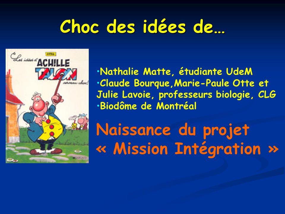 Choc des idées de… Nathalie Matte, étudiante UdeM Claude Bourque,Marie-Paule Otte et Julie Lavoie, professeurs biologie, CLG Biodôme de Montréal Naiss