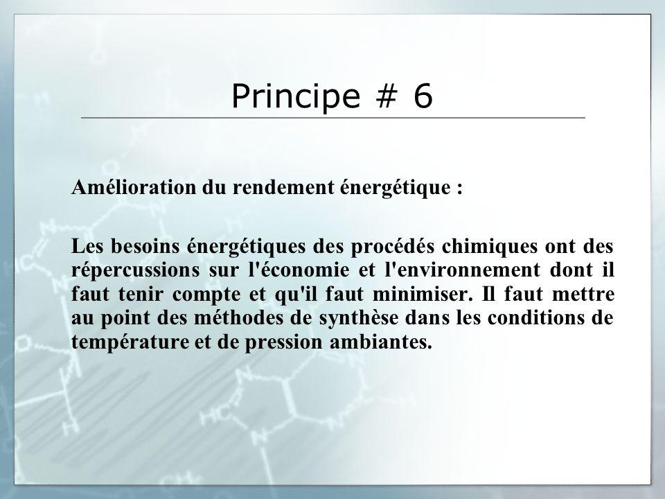Principe # 6 Amélioration du rendement énergétique : Les besoins énergétiques des procédés chimiques ont des répercussions sur l'économie et l'environ