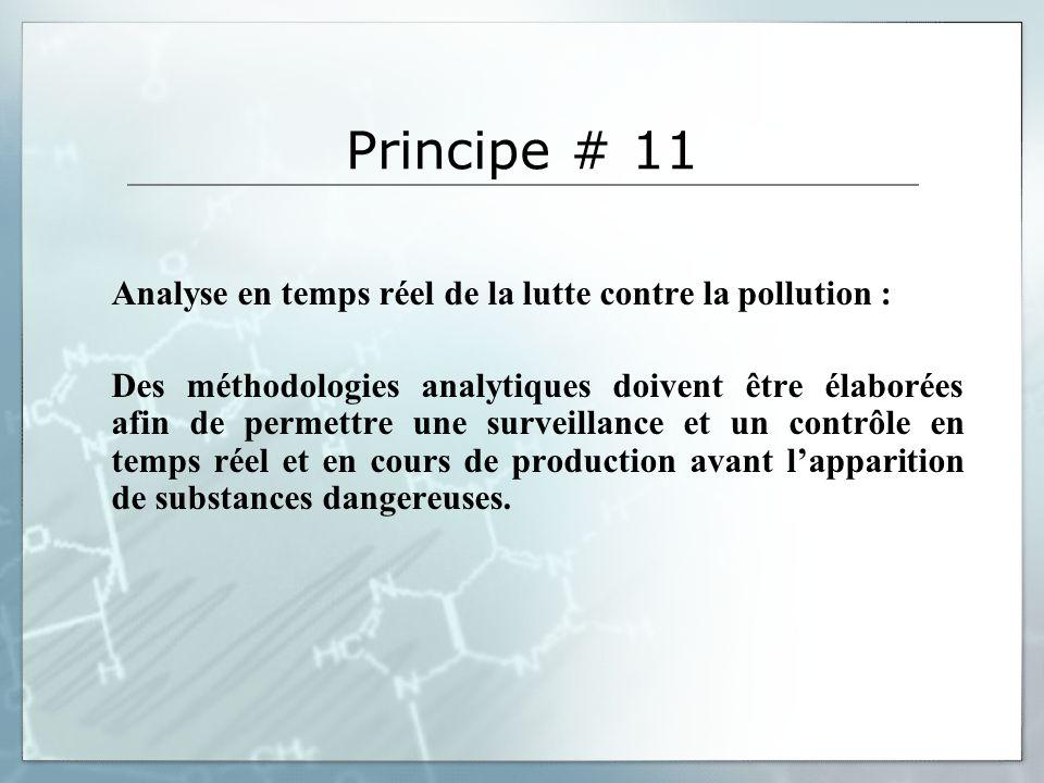 Principe # 11 Analyse en temps réel de la lutte contre la pollution : Des méthodologies analytiques doivent être élaborées afin de permettre une surveillance et un contrôle en temps réel et en cours de production avant lapparition de substances dangereuses.