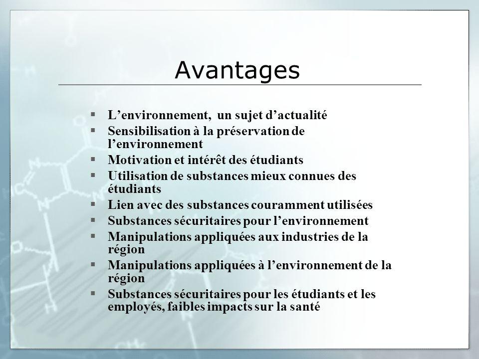 Avantages Lenvironnement, un sujet dactualité Sensibilisation à la préservation de lenvironnement Motivation et intérêt des étudiants Utilisation de s