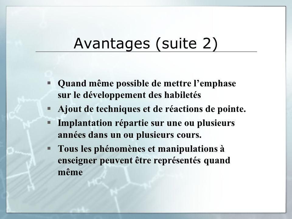 Avantages (suite 2) Quand même possible de mettre lemphase sur le développement des habiletés Ajout de techniques et de réactions de pointe.