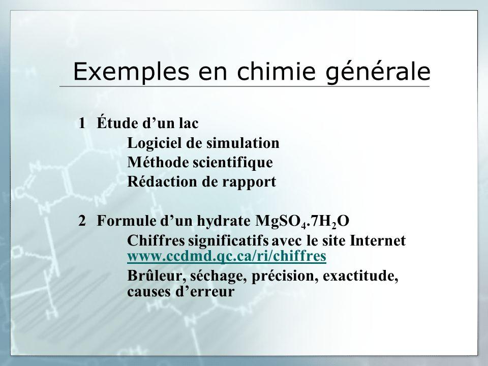 Exemples en chimie générale 1Étude dun lac Logiciel de simulation Méthode scientifique Rédaction de rapport 2Formule dun hydrate MgSO 4.7H 2 O Chiffre