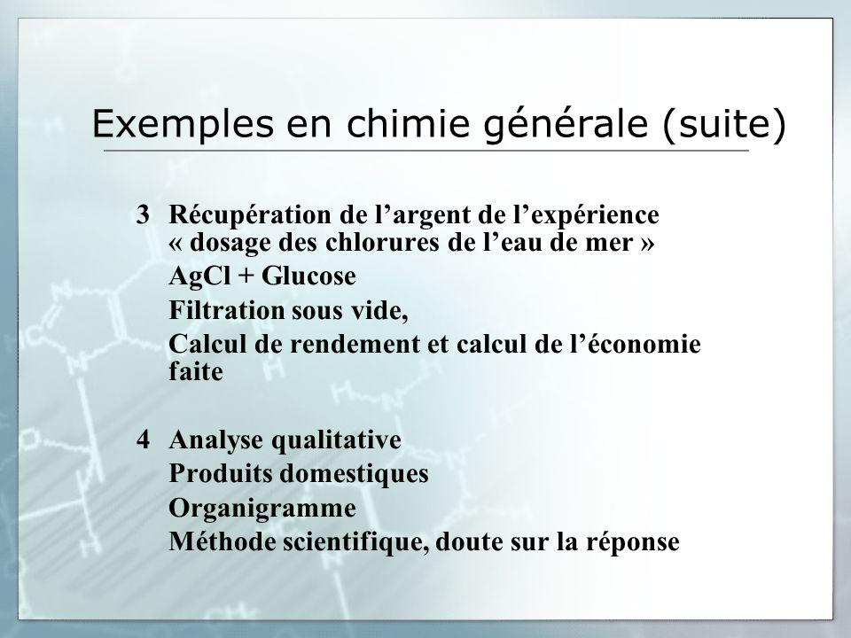 Exemples en chimie générale (suite) 3Récupération de largent de lexpérience « dosage des chlorures de leau de mer » AgCl + Glucose Filtration sous vid