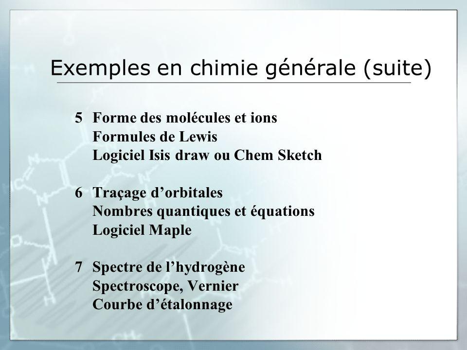Exemples en chimie générale (suite) 5Forme des molécules et ions Formules de Lewis Logiciel Isis draw ou Chem Sketch 6Traçage dorbitales Nombres quant