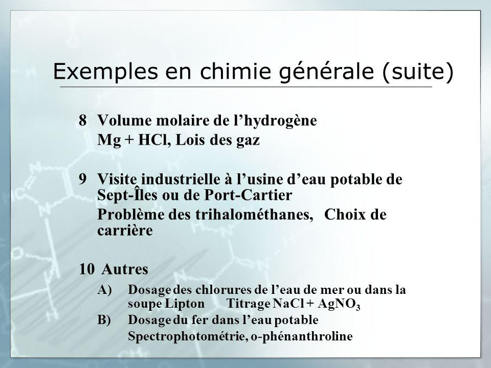 Exemples en chimie générale (suite) 8Volume molaire de lhydrogène Mg + HCl, Lois des gaz 9Visite industrielle à lusine deau potable de Sept-Îles ou de