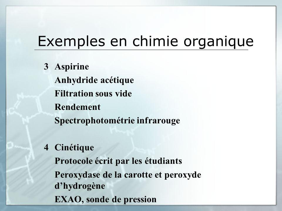 Exemples en chimie organique 3Aspirine Anhydride acétique Filtration sous vide Rendement Spectrophotométrie infrarouge 4Cinétique Protocole écrit par les étudiants Peroxydase de la carotte et peroxyde dhydrogène EXAO, sonde de pression