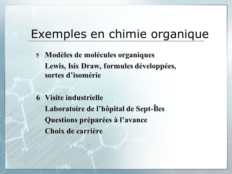 Exemples en chimie organique 5 Modèles de molécules organiques Lewis, Isis Draw, formules développées, sortes disomérie 6Visite industrielle Laboratoire de lhôpital de Sept-Îles Questions préparées à lavance Choix de carrière