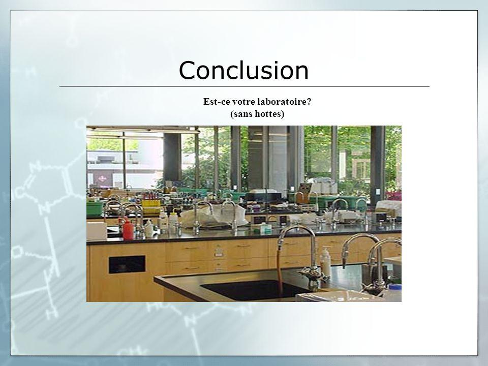Conclusion Est-ce votre laboratoire? (sans hottes)
