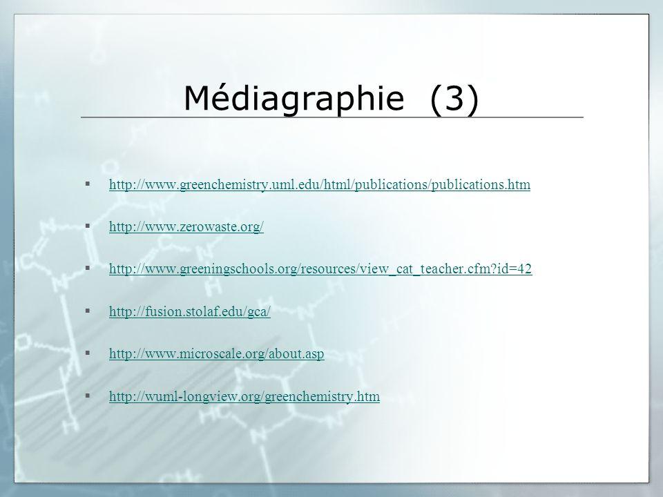 Médiagraphie (3) http://www.greenchemistry.uml.edu/html/publications/publications.htm http://www.zerowaste.org/ http://www.greeningschools.org/resourc