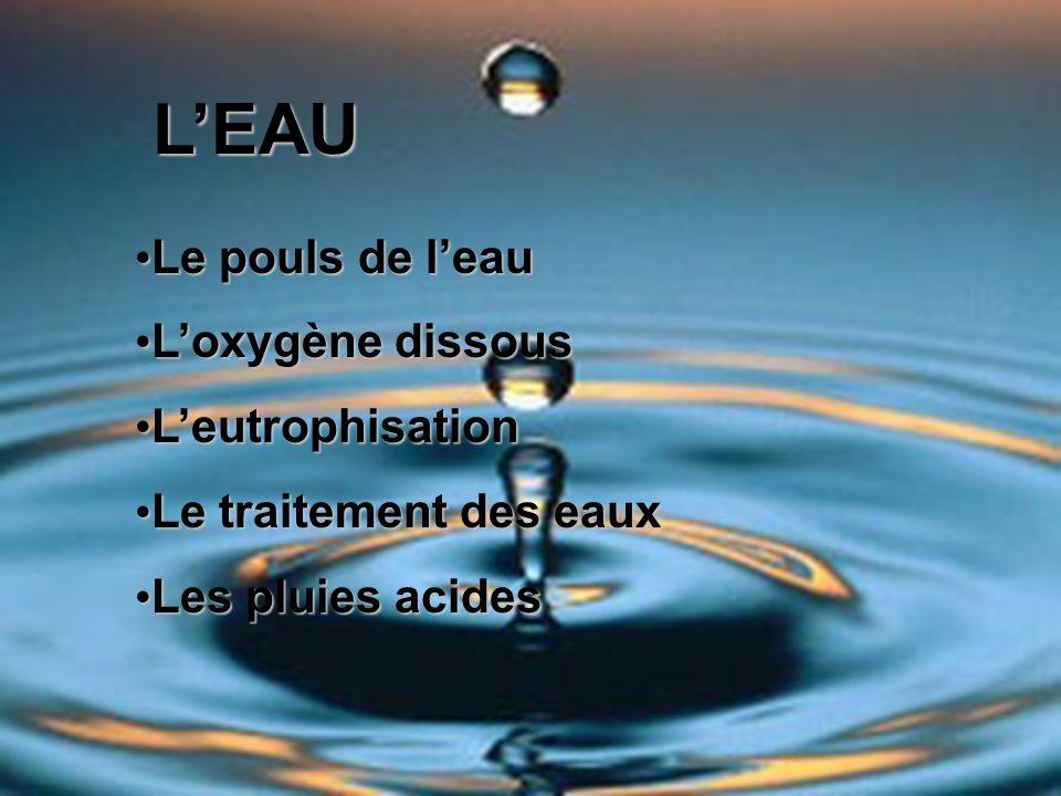 LEAU Le pouls de leau Le pouls de leau Loxygène dissous Loxygène dissous Leutrophisation Leutrophisation Le traitement des eaux Le traitement des eaux