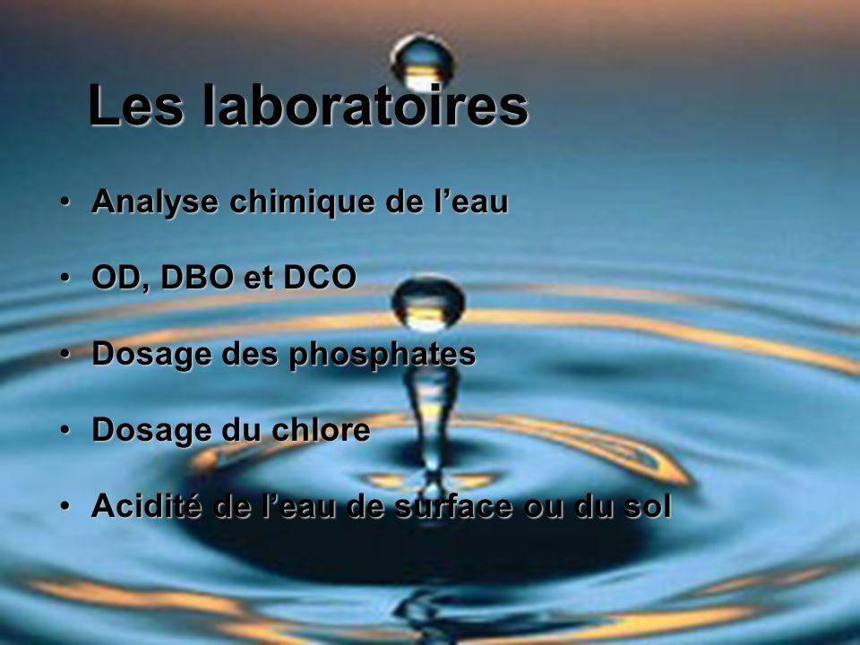 Analyse chimique de leauAnalyse chimique de leau OD, DBO et DCOOD, DBO et DCO Dosage des phosphatesDosage des phosphates Dosage du chloreDosage du chl