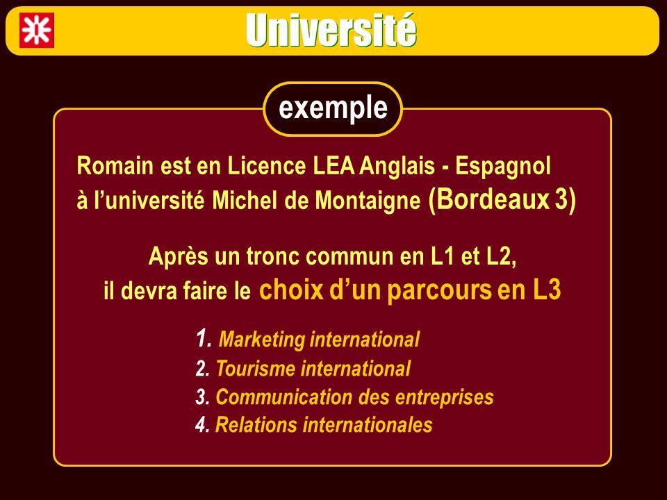 Université 1. Marketing international 2. Tourisme international 3. Communication des entreprises 4. Relations internationales Romain est en Licence LE