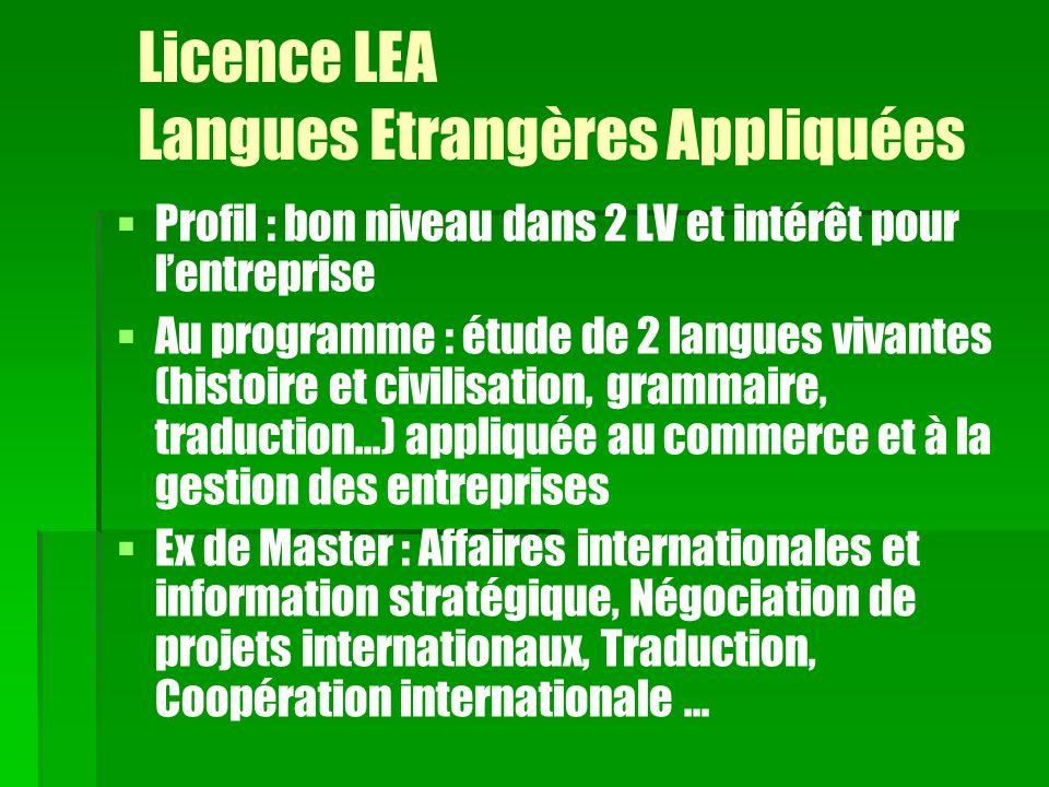 Licence LEA Langues Etrangères Appliquées Profil : bon niveau dans 2 LV et intérêt pour lentreprise Au programme : étude de 2 langues vivantes (histoi