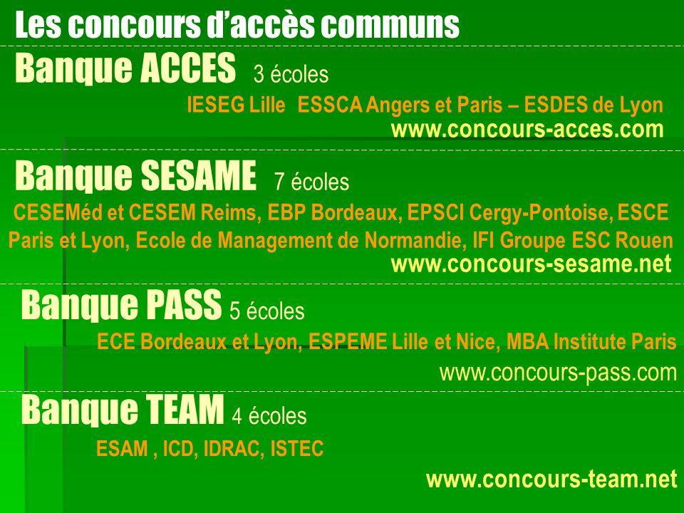 Les concours daccès communs Banque ACCES 3 écoles IESEG Lille ESSCA Angers et Paris – ESDES de Lyon www.concours-acces.com Banque SESAME 7 écoles CESE