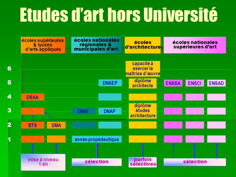 1 2 6 5 4 3 DSAA BTSDMA mise à niveau 1 an écoles supérieures & lycées darts appliqués diplôme études architecture diplôme architecte capacité à exerc