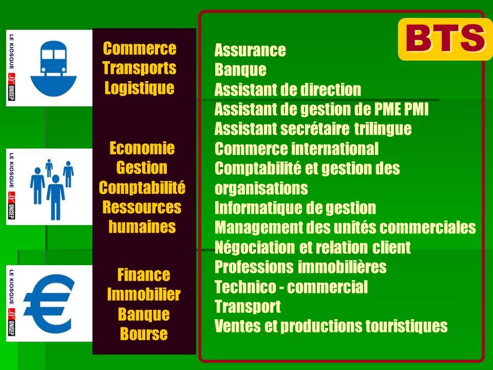 Commerce Transports Logistique Economie Gestion Comptabilité Ressources humaines Finance Immobilier Banque Bourse BTS Assurance Banque Assistant de di