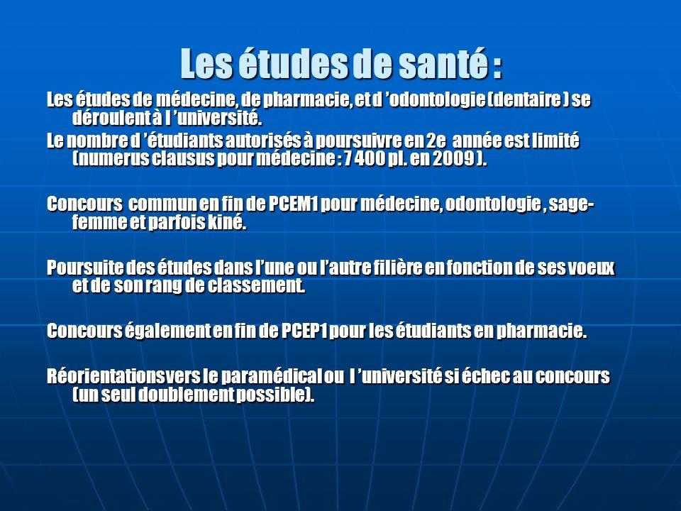 Les études de santé : Les études de médecine, de pharmacie, et d odontologie (dentaire ) se déroulent à l université. Le nombre d étudiants autorisés