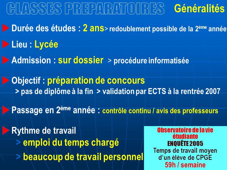 Généralités Durée des études : 2 ans > redoublement possible de la 2 ème année Admission : sur dossier > procédure informatisée Objectif : préparation