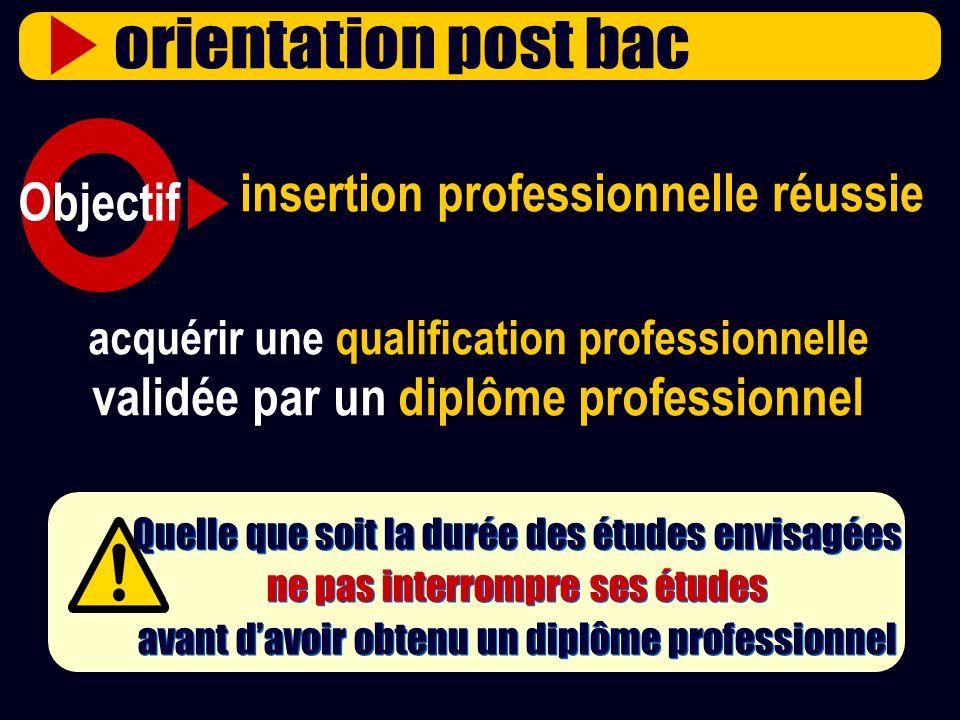 acquérir une qualification professionnelle validée par un diplôme professionnel insertion professionnelle réussie Quelle que soit la durée des études
