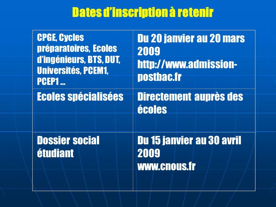 CPGE, Cycles préparatoires, Ecoles dingénieurs, BTS, DUT, Universités, PCEM1, PCEP1 … Du 20 janvier au 20 mars 2009 http://www.admission- postbac.fr E