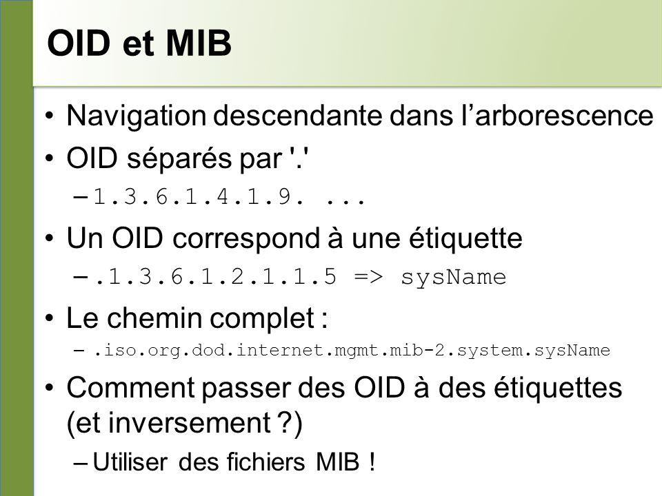 OID et MIB Navigation descendante dans larborescence OID séparés par . – 1.3.6.1.4.1.9....