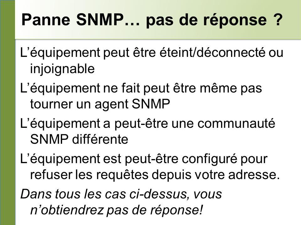 Panne SNMP… pas de réponse .