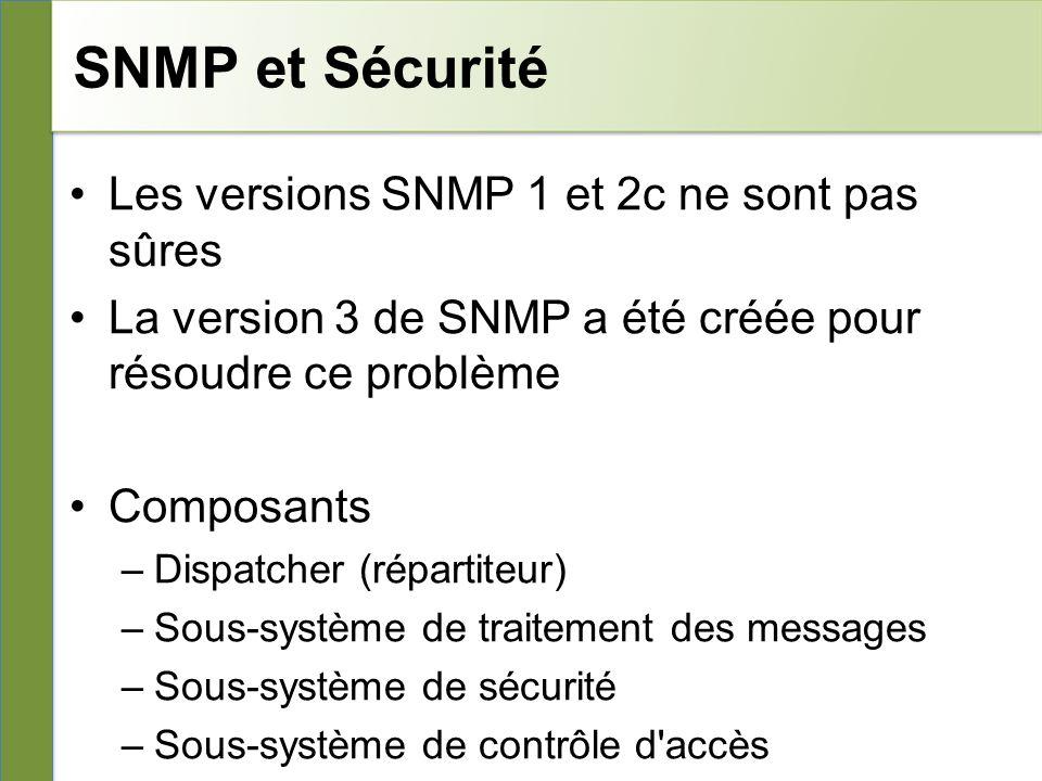 SNMP et Sécurité Les versions SNMP 1 et 2c ne sont pas sûres La version 3 de SNMP a été créée pour résoudre ce problème Composants –Dispatcher (répartiteur) –Sous-système de traitement des messages –Sous-système de sécurité –Sous-système de contrôle d accès