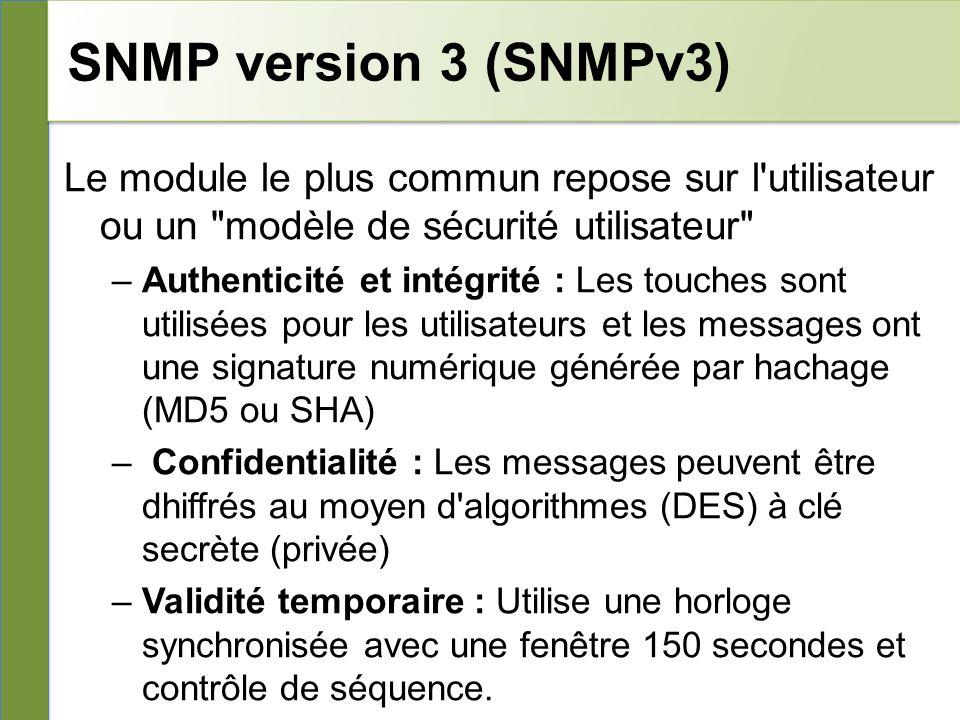 SNMP version 3 (SNMPv3) Le module le plus commun repose sur l utilisateur ou un modèle de sécurité utilisateur –Authenticité et intégrité : Les touches sont utilisées pour les utilisateurs et les messages ont une signature numérique générée par hachage (MD5 ou SHA) – Confidentialité : Les messages peuvent être dhiffrés au moyen d algorithmes (DES) à clé secrète (privée) –Validité temporaire : Utilise une horloge synchronisée avec une fenêtre 150 secondes et contrôle de séquence.