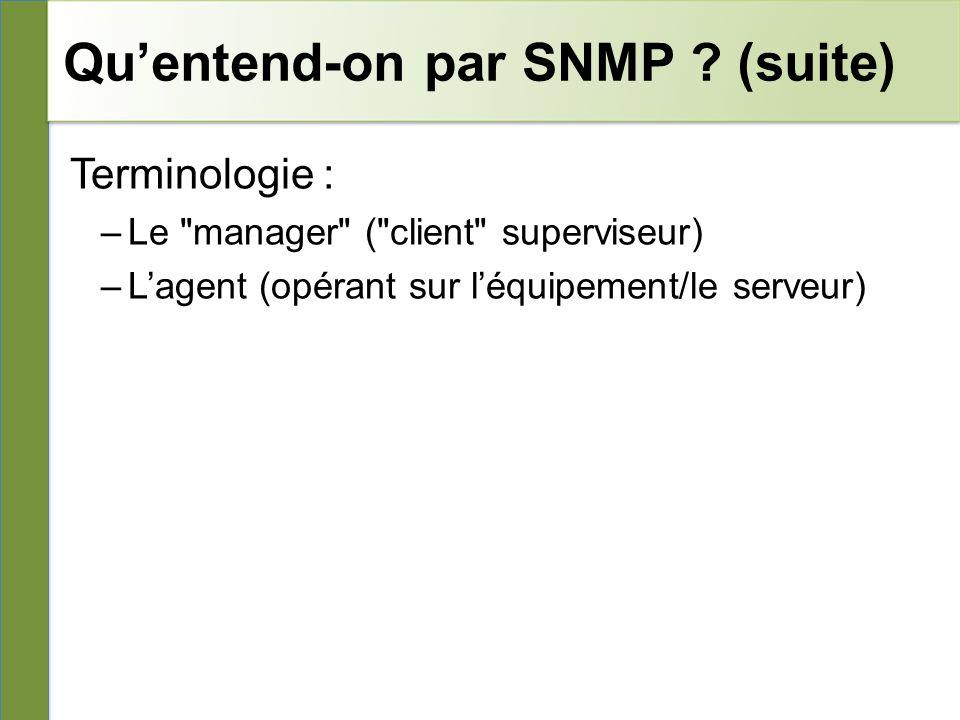 Quentend-on par SNMP .