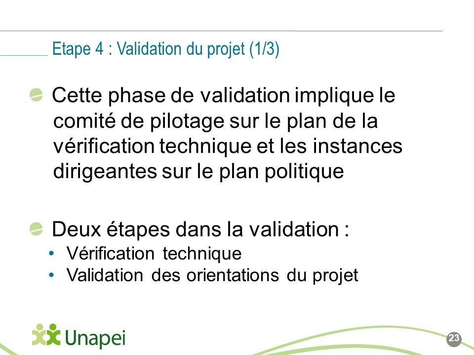 Cette phase de validation implique le comité de pilotage sur le plan de la vérification technique et les instances dirigeantes sur le plan politique Deux étapes dans la validation : Vérification technique Validation des orientations du projet Etape 4 : Validation du projet (1/3) 23