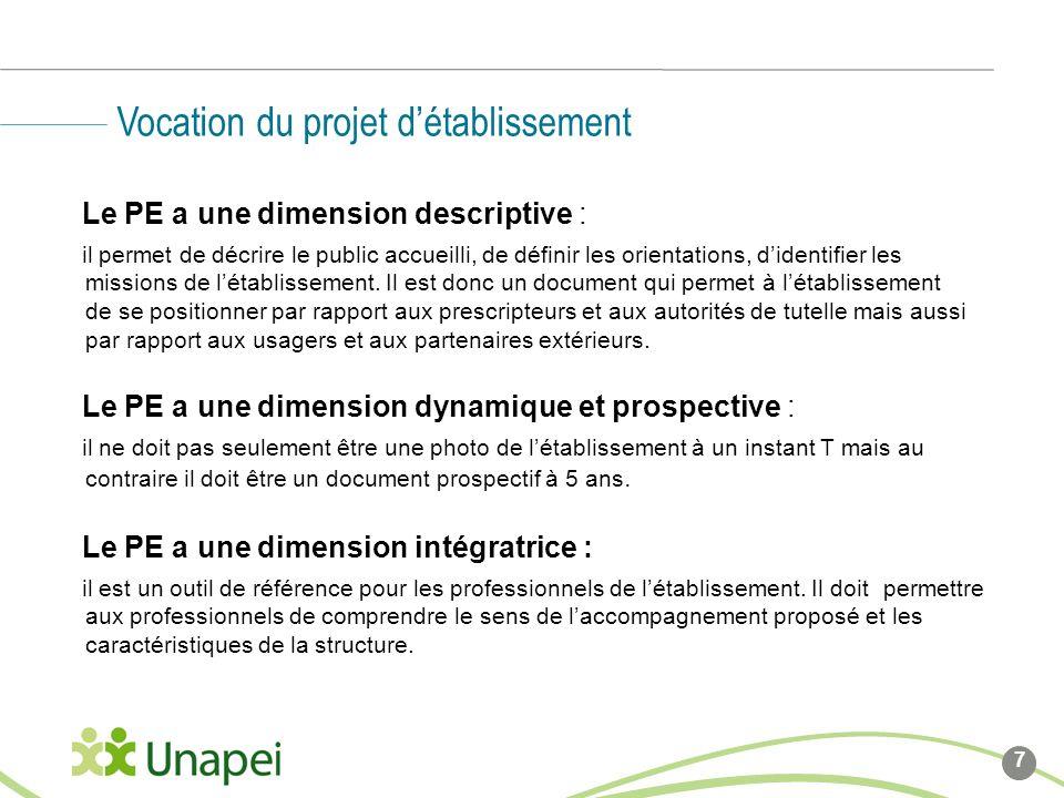 Le PE a une dimension descriptive : il permet de décrire le public accueilli, de définir les orientations, didentifier les missions de létablissement.