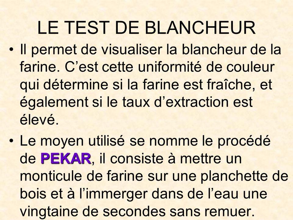 LE TEST DE BLANCHEUR Il permet de visualiser la blancheur de la farine.