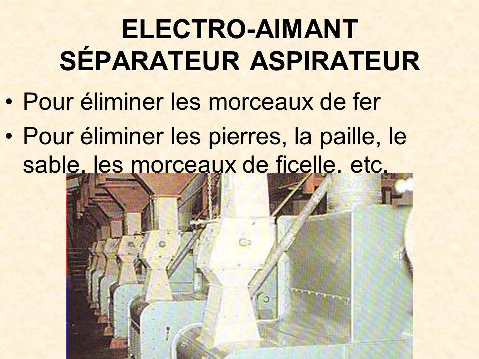 ELECTRO-AIMANT SÉPARATEUR ASPIRATEUR Pour éliminer les morceaux de fer Pour éliminer les pierres, la paille, le sable, les morceaux de ficelle, etc.