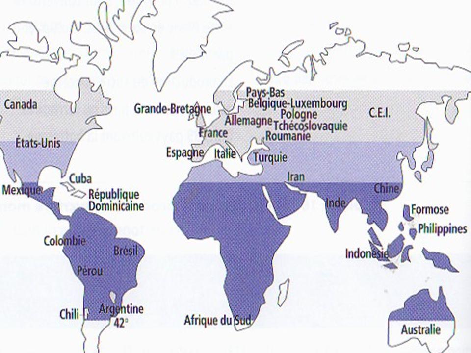 Les principales régions du monde où lon cultive du blé sont LASIE est plus particulièrement la CHINE et lINDE AMERIQUE DU NORD : USA, CANADA LEUROPE : RUSSIE, ALLEMAGNE, FRANCE.