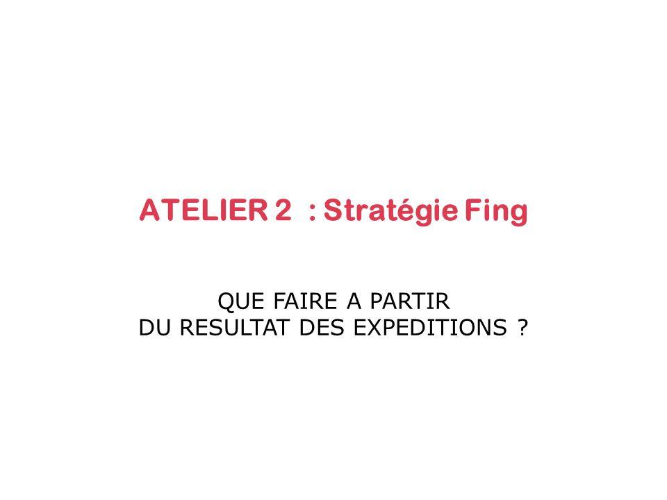 ATELIER 2 : Stratégie Fing QUE FAIRE A PARTIR DU RESULTAT DES EXPEDITIONS ?