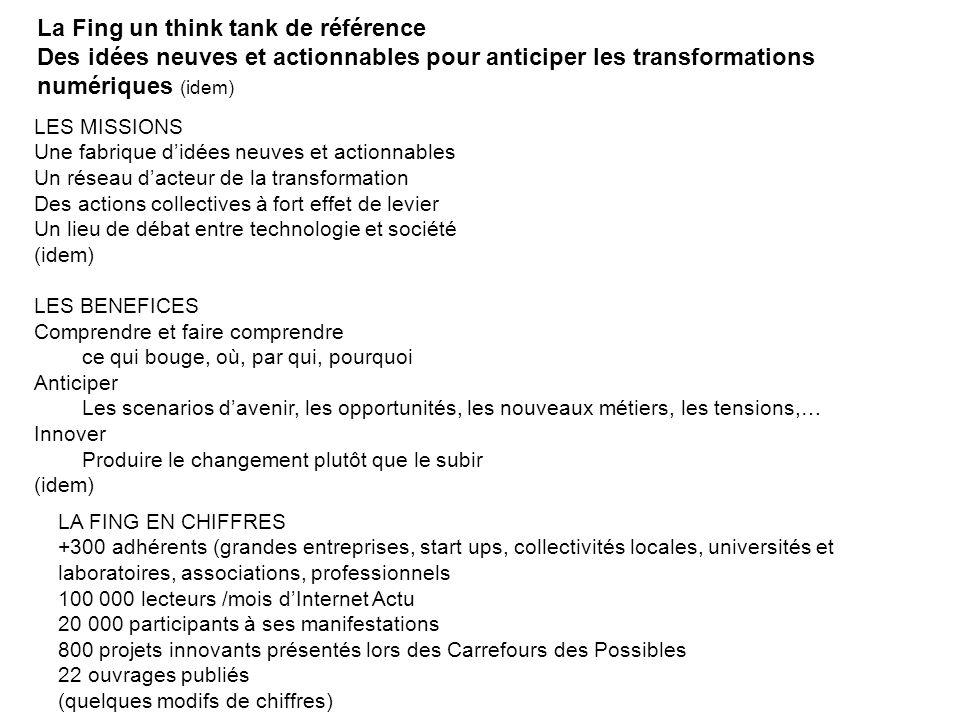 La Fing en 2012 Think TankProspective Habita[n]ts connectés Numérique & habitat, nouvelles pistes Innovation monétaire et monnaies de l innovation Aux frontières du Do-It-Yourself L avenir de l industrie .