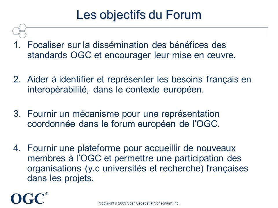 OGC ® 1.Focaliser sur la dissémination des bénéfices des standards OGC et encourager leur mise en œuvre. 2.Aider à identifier et représenter les besoi