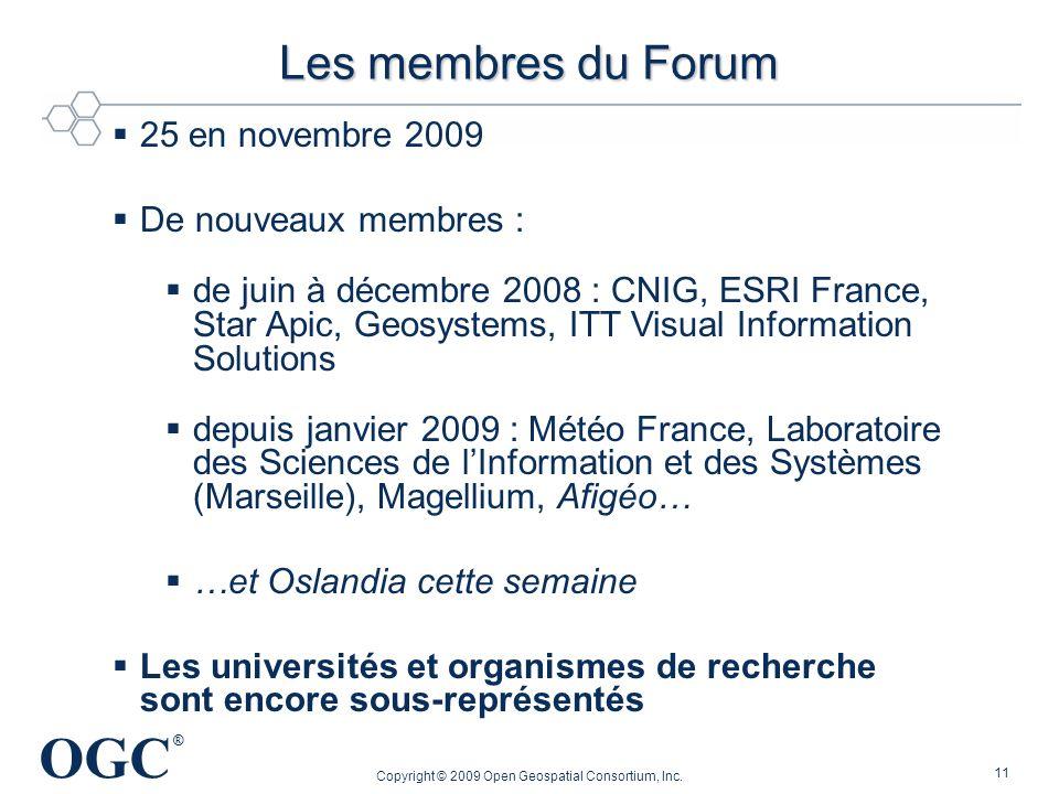 OGC ® 11 25 en novembre 2009 De nouveaux membres : de juin à décembre 2008 : CNIG, ESRI France, Star Apic, Geosystems, ITT Visual Information Solution