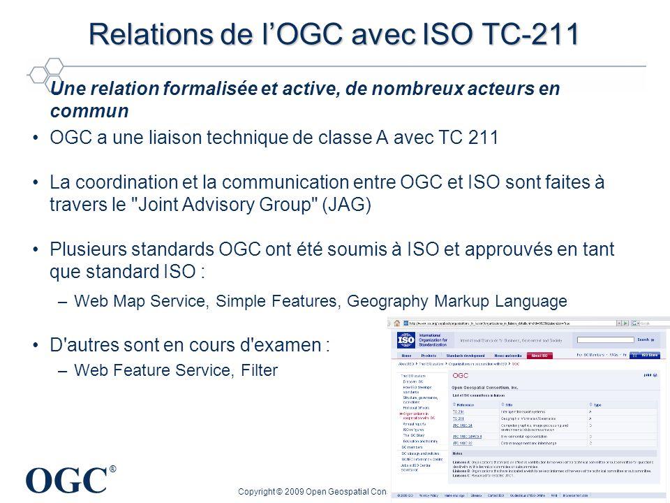 OGC ® Copyright © 2009 Open Geospatial Consortium, Inc. 17 Relations de lOGC avec ISO TC-211 Une relation formalisée et active, de nombreux acteurs en