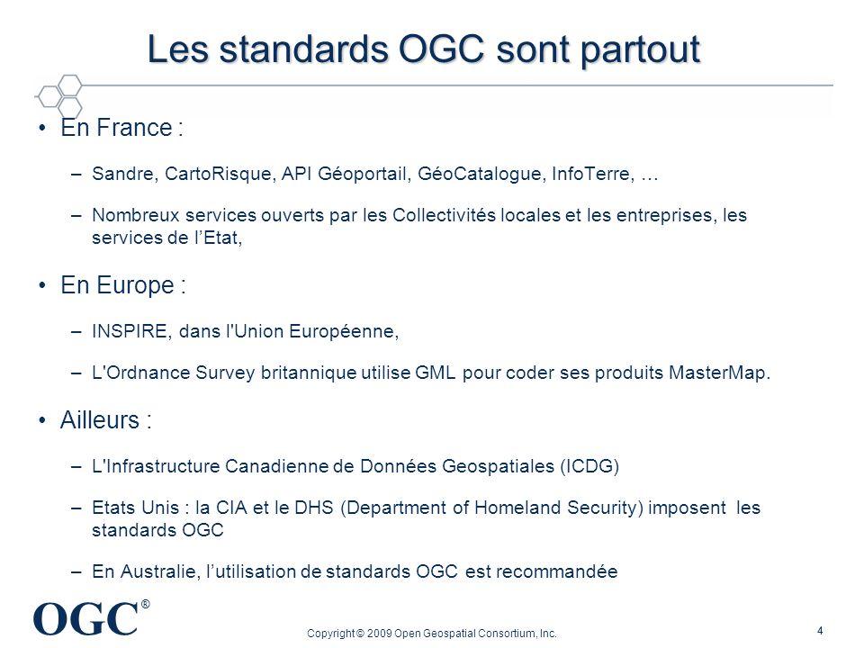OGC ® Copyright © 2009 Open Geospatial Consortium, Inc. 44 Les standards OGC sont partout En France : –Sandre, CartoRisque, API Géoportail, GéoCatalog