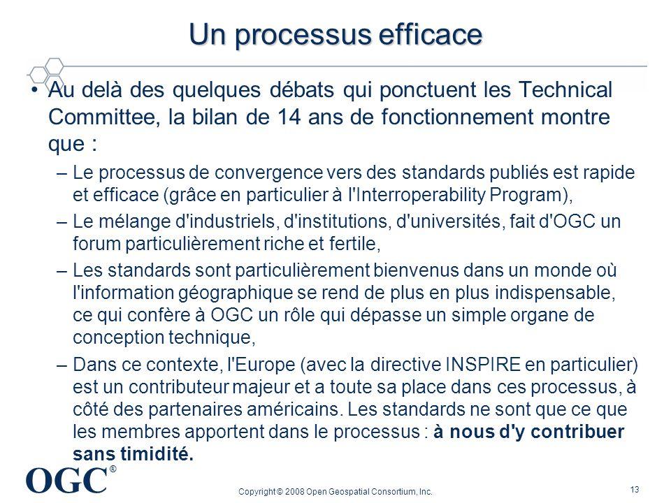 OGC ® Copyright © 2008 Open Geospatial Consortium, Inc. 13 Un processus efficace Au delà des quelques débats qui ponctuent les Technical Committee, la