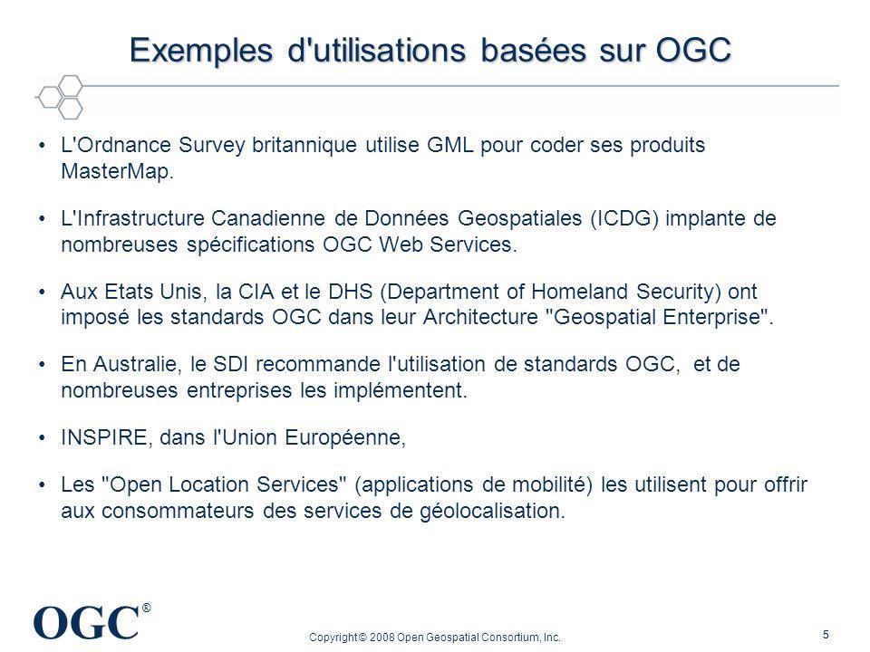 OGC ® Copyright © 2008 Open Geospatial Consortium, Inc. 55 Exemples d'utilisations basées sur OGC Exemples d'utilisations basées sur OGC L'Ordnance Su