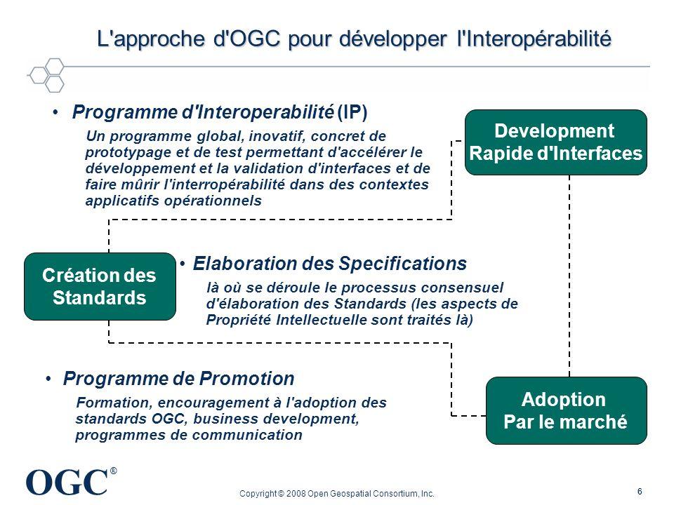 OGC ® Copyright © 2008 Open Geospatial Consortium, Inc. 66 L'approche d'OGC pour développer l'Interopérabilité Programme d'Interoperabilité (IP) Un pr